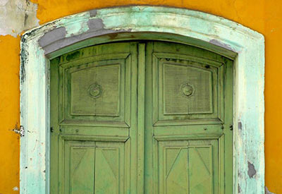 photo of green doors on old building