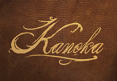 Kanoka logo on brown leather background