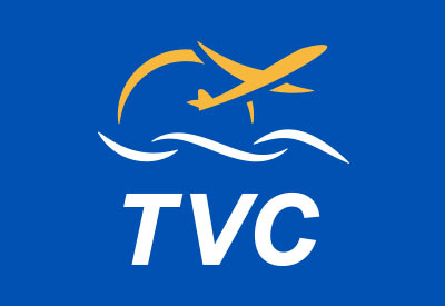 TVC Airport logo graphic with plane and waves